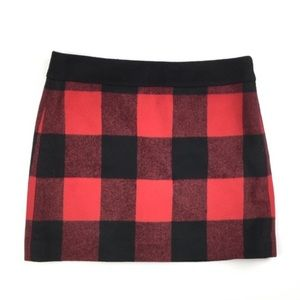 J crew red black wool buffalo plaid mini skirt
